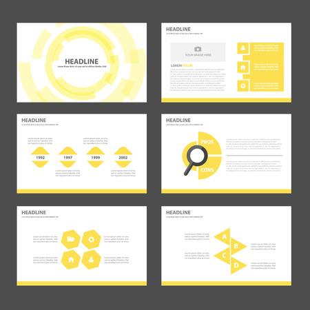 광고 마케팅 브로셔 전단지 전단지 노란색 다목적 인포 그래픽 요소와 아이콘 프리젠 테이션 템플릿 평면 디자인 세트 일러스트