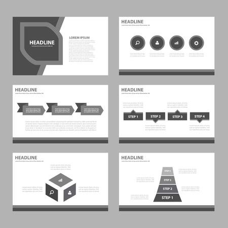magazine template: Black Multipurpose Infographic elements and icon presentation template flat design set for advertising marketing brochure flyer leaflet Illustration