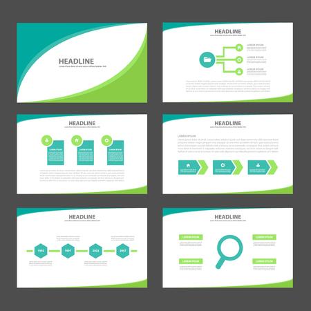 2 つの緑のトーン多目的インフォ グラフィック要素とアイコン プレゼンテーション テンプレート フラット デザイン マーケティングのパンフレット