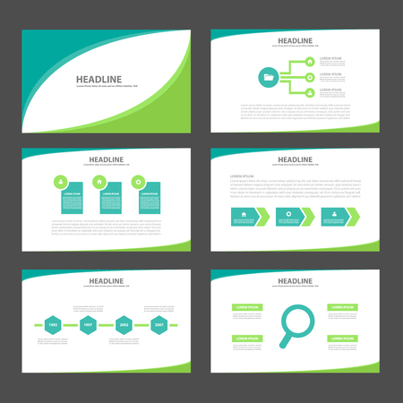 Two tone groen Multipurpose Infographic elementen en het pictogram presentatiesjabloon platte ontwerp set voor reclame marketing brochure flyer leaflet Stock Illustratie