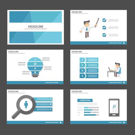 Homme d'affaires bleu thème polyvalent Infographic éléments et icône modèle de présentation set design plat pour la commercialisation de la publicité brochure dépliant dépliant Banque d'images - 46321990