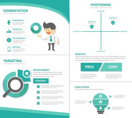 STP Marketing zakenman Infographic elementen presentatiesjabloon plat ontwerp set voor reclame marketing brochure flyer leaflet