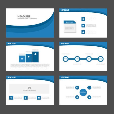 report cover design: Blue theme Multipurpose Infographic elements and icon presentation template flat design set for advertising marketing brochure flyer leaflet Illustration