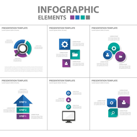 set design: Purple green Blue theme Multipurpose Infographic elements and icon presentation template flat design set for advertising marketing brochure flyer leaflet