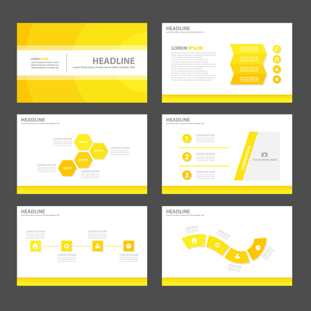presentation template: Yellow theme Multipurpose Infographic elements and icon presentation template flat design set for advertising marketing brochure flyer leaflet