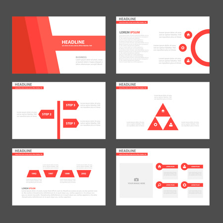 magazine layout: Red tone Multipurpose Infographic elements and icon presentation template flat design set for advertising marketing brochure flyer leaflet