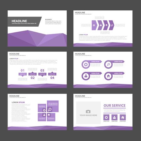 magazine layout: Purple Multipurpose Infographic elements and icon presentation template flat design set for advertising marketing brochure flyer leaflet Illustration