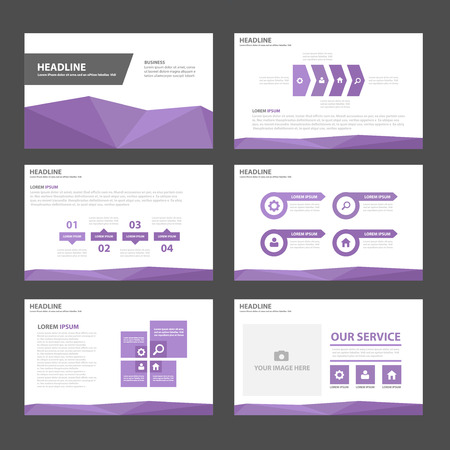 Purple Multipurpose Infographic elements and icon presentation template flat design set for advertising marketing brochure flyer leaflet Vettoriali
