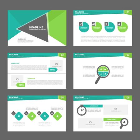 三角形グリーン多目的インフォ グラフィック要素とアイコン プレゼンテーション テンプレート フラット デザイン マーケティングのパンフレット