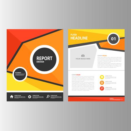 reporte: Red Informe anual elementos amarillo anaranjado Multiusos de Infograf�a y el icono de plantilla de presentaci�n conjunto dise�o plano para la comercializaci�n publicitaria de viajero folleto folleto