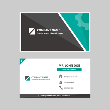 business cards: Green and black Multipurpose business profile card template flat design for company advertising introduce marketing recruitment