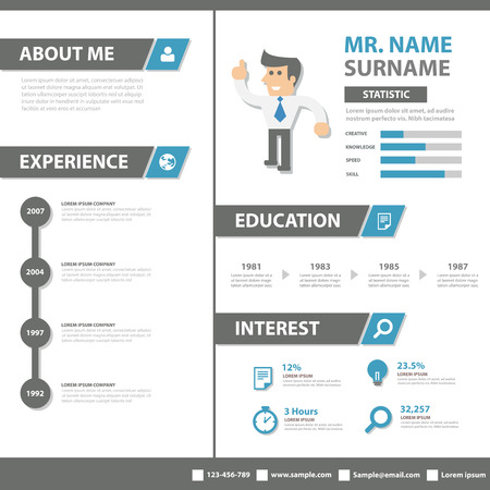 business profiles: Smart creative resume business profile  CV vitae template layout flat design for job application advertising marketing cartoon