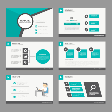 Zwarte groene Jaarverslag Multipurpose Infographic elementen en het pictogram presentatiesjabloon plat ontwerp set voor reclame marketing brochure flyer leaflet Stock Illustratie