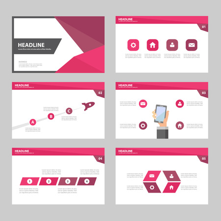 sjabloon: Roze Paars Jaarverslag Multipurpose Infographic elementen en het pictogram presentatiesjabloon plat ontwerp set voor reclame marketing brochure flyer leaflet