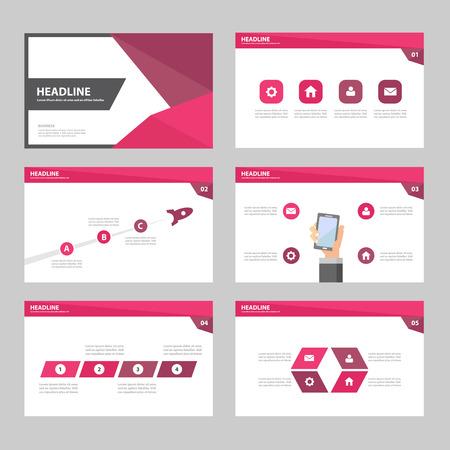 sjabloon: Roze Paars Jaarverslag Multipurpose Infographic elementen en het pictogram presentatiesjabloon plat ontwerp set voor reclame marketing brochure flyer leaflet