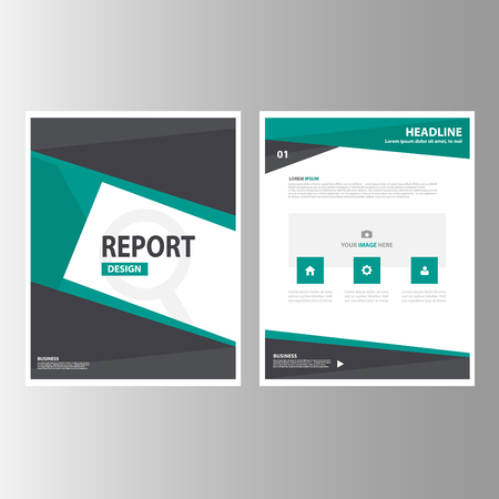 magazine design: Black and green Annual report Multipurpose Infographic elements and icon presentation template flat design set for advertising marketing brochure flyer leaflet Illustration