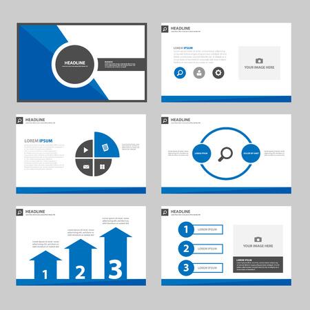 광고 마케팅 브로셔 전단지 전단지 블루 블랙 다목적 인포 그래픽 요소와 아이콘 프리젠 테이션 템플릿 평면 디자인 세트 일러스트