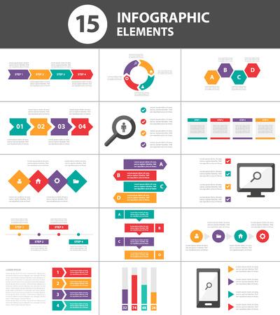 sjabloon: Multicolor Multipurpose Infographic elementen en het pictogram presentatiesjabloon platte ontwerp set voor reclame marketing brochure flyer leaflet Stock Illustratie