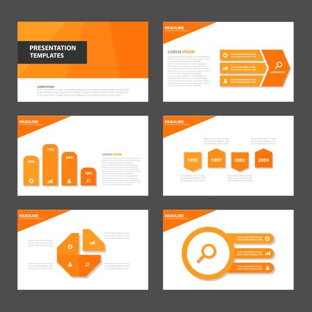 naranja: Naranja Multiusos Infograf�a elementos y icono de plantilla de presentaci�n conjunto dise�o plano para la comercializaci�n publicitaria de viajero folleto folleto