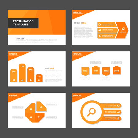 magazine layout: Orange Multipurpose Infographic elements and icon presentation template flat design set for advertising marketing brochure flyer leaflet Illustration