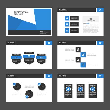 Blauw Zwart Multipurpose Infographic elementen en het pictogram presentatiesjabloon plat ontwerp set voor reclame marketing brochure flyer leaflet