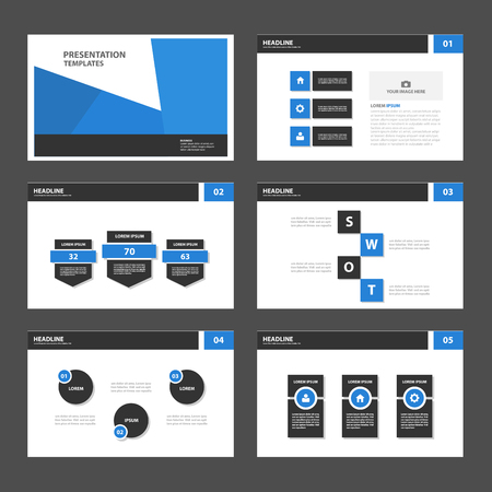 layout template: Blue Black Multipurpose Infographic elements and icon presentation template flat design set for advertising marketing brochure flyer leaflet