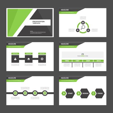 Verde Nero multiuso Infografica elementi e set design piatto icona di presentazione del modello per la pubblicità di marketing opuscolo volantino volantino Archivio Fotografico - 47848550