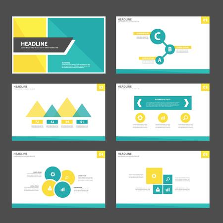 Elementos verdes amarillos Polivalente de Infografía y diseño conjunto plana icono de plantilla de presentación para la comercialización de publicidad folleto folleto folleto Foto de archivo - 47848551