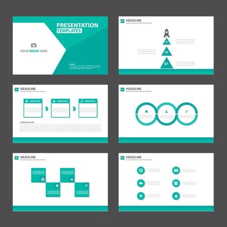magazine template: Green Polygon Multipurpose Infographic elements and icon presentation template flat design set for advertising marketing brochure flyer leaflet
