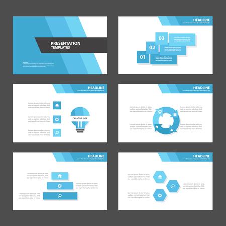 블루 다각형 3 다목적 인포 그래픽 광고 마케팅 브로셔 전단지 전단지 요소 및 아이콘 프리젠 테이션 템플릿 평면 디자인 세트