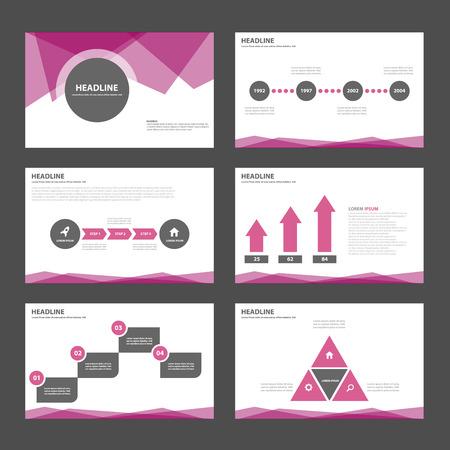 Elementos negros púrpuras Multiusos de Infografía y el icono de plantilla de presentación conjunto diseño plano para la comercialización publicitaria de viajero folleto folleto Foto de archivo - 48416398