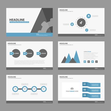 sjabloon: Blauw zwart Multipurpose Infographic elementen en het pictogram presentatiesjabloon platte ontwerp set voor reclame marketing brochure flyer leaflet