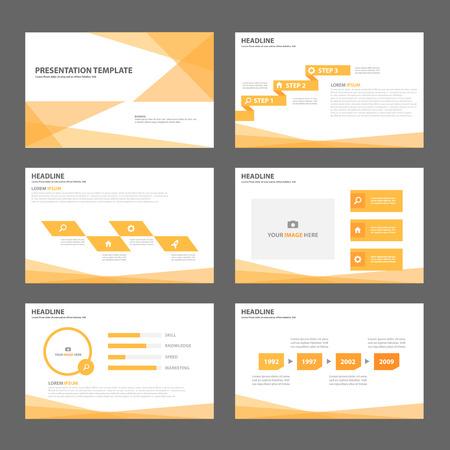 오렌지 비즈니스 다목적 인포 그래픽 광고 마케팅 브로셔 전단지 전단지 요소 및 아이콘 프리젠 테이션 템플릿 평면 디자인 세트 일러스트