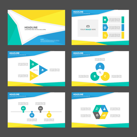 poster presentation: Green yellow blue business Multipurpose Infographic elements and icon presentation template flat design set for advertising marketing brochure flyer leaflet