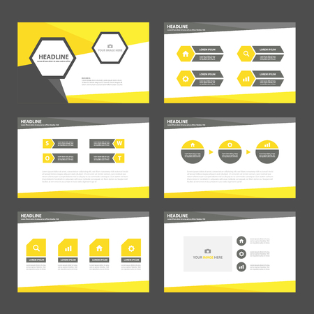 set template: Black yellow business Multipurpose Infographic elements and icon presentation template flat design set for advertising marketing brochure flyer leaflet