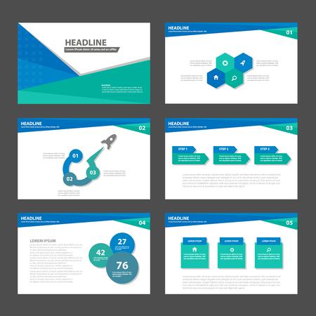 광고 마케팅 브로셔 전단지 전단지 블루 그린 비즈니스 다목적 인포 그래픽 요소와 아이콘 프리젠 테이션 템플릿 평면 디자인 세트 일러스트