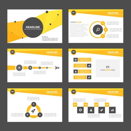 Gelb und schwarz Business-Multifunktionsinfografik-Elemente und das Symbol Präsentationsvorlage flache Design-Set für Flyer Prospektwerbung Marketing-Broschüre Standard-Bild - 49265621