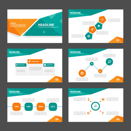 magazine layout design template: Green and orange business Multipurpose Infographic elements and icon presentation template flat design set for advertising marketing brochure flyer leaflet