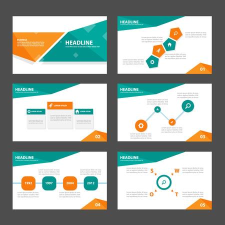 sjabloon: Groen en oranje zakelijke Multipurpose Infographic elementen en icoon presentatiesjabloon plat ontwerp set voor reclame marketing brochure flyer leaflet