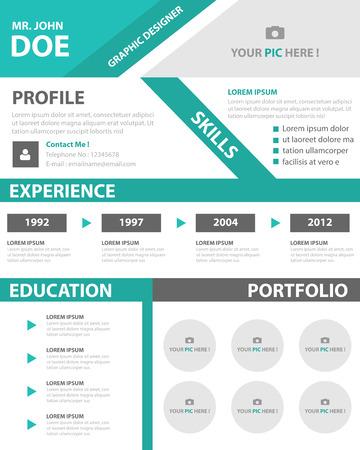 Green Smart creative resume business profile CV vitae template layout flat design for job application advertising marketing Vectores