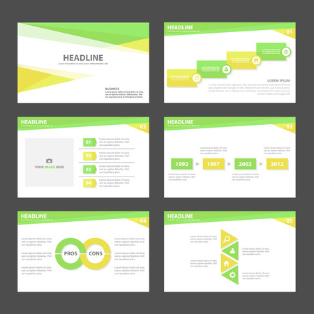 Green yellow presentation template Infographic elements business Multipurpose and icon  flat design set for advertising marketing brochure flyer leaflet