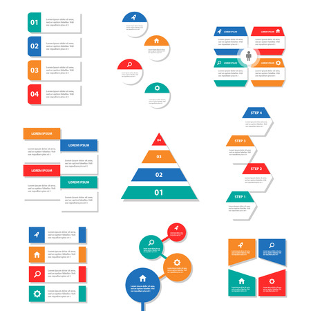 9 colorful Infographic elements presentation template business Multipurpose and icon  flat design set for advertising marketing brochure flyer leaflet