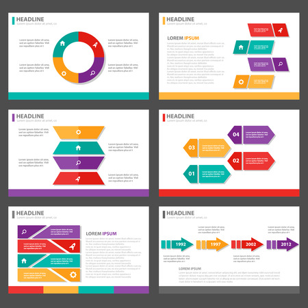 graphic presentation: 6 presentation templates colorful Infographic elements business Multipurpose and icon  flat design set for advertising marketing brochure flyer leaflet