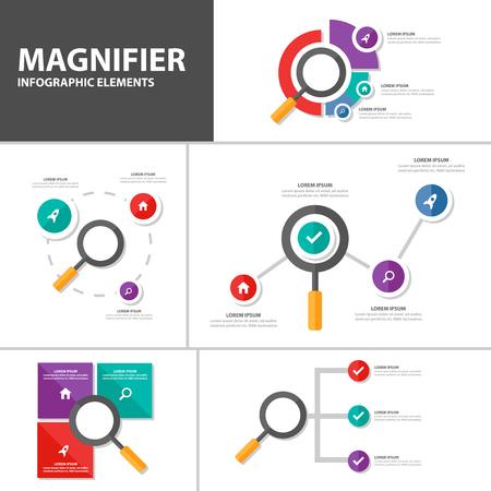 advertising design: Magnifier Infographic elements presentation template flat design set for brochure flyer leaflet marketing advertising Illustration