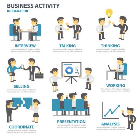 icono ordenador: La actividad empresarial Infografía plantilla de elementos de presentación conjunto de diseño plano para el aviador folleto publicitario de marketing folleto
