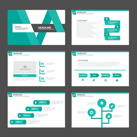 magazine template: green abstract presentation template Infographic elements flat design set for brochure flyer leaflet marketing advertising