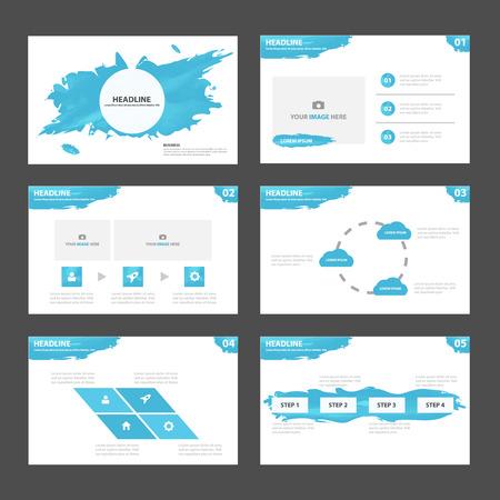 브로셔 전단지 전단지 마케팅 광고에 대한 추상 파란색 프리젠 테이션 템플릿 인포 그래픽 요소 평면 디자인 세트 일러스트
