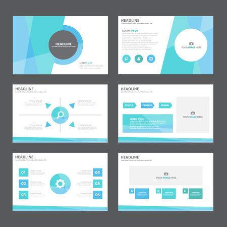 브로셔 전단지 전단지 마케팅 광고에 대 한 블루 그린 추상 프리젠 테이션 템플릿 인포 그래픽 요소 평면 디자인 세트