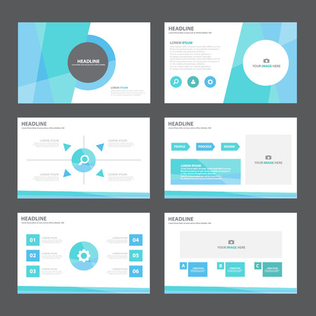 Blue green Abstract presentation template Infographic elements flat design set for brochure flyer leaflet marketing advertising