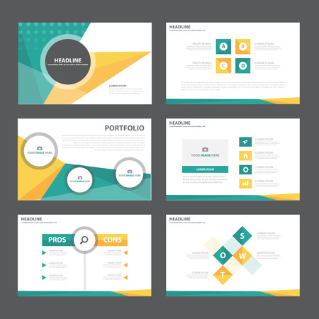 Green orange Abstract presentation template Infographic elements flat design set for brochure flyer leaflet marketing advertising Reklamní fotografie - 49646676